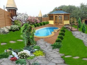 ландшафтный проект с бассейном